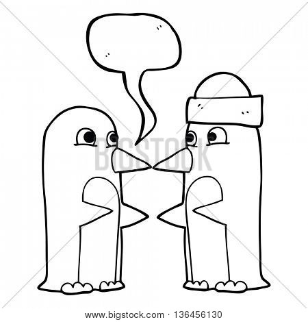 freehand drawn speech bubble cartoon penguins