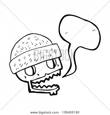 freehand drawn speech bubble cartoon skull wearing hat