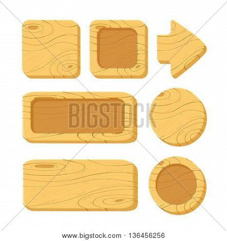 Vector illustration of a set of cartoon wooden game assets, wood kit for game ui development, vector gui elements. Menu buttons for web and game design..isolated on white background