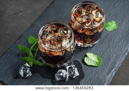Whiskey And Cola With Ice Cube
