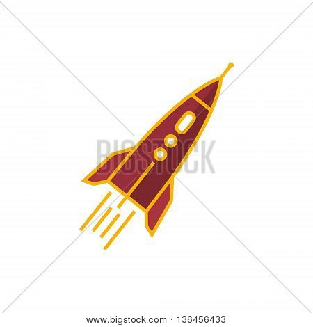 Rocket, Spaceship Isolated on White Background, Vector Illustration