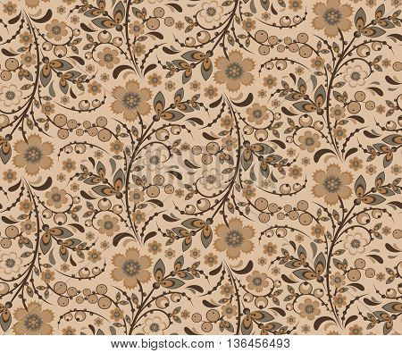 Seamless floral pattern with ornamental flowers in Khokhloma style. Floral design. Traditional russian Hohloma ornament with flowers. Beige retro colors. Vector illustration