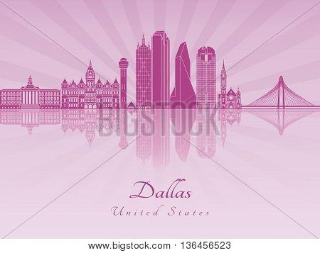 Dallas skyline in purple radiant orchid in editable vector file