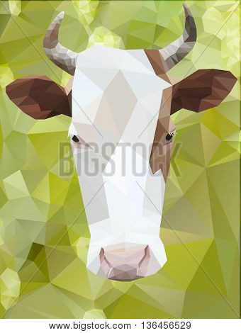 Vector geometric polygon cow polygonal green background