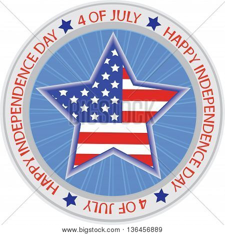 Vector symbol. 4 OF JULY. Happy Independence Day.