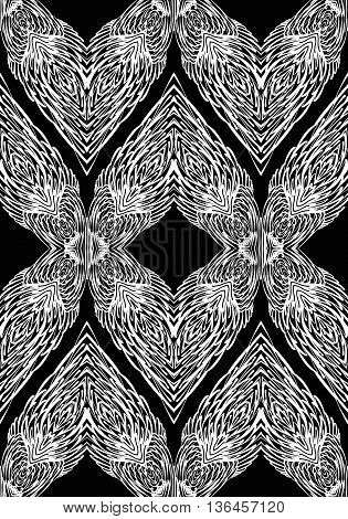 Seamless Pattern with Elements of Doodle Feather on Black