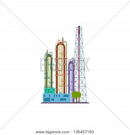 Chemical Plant Isolated on White Background, Refinery Processing of Natural Resources, Industrial Pipes, Vector Illustration