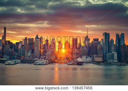 Cloudy sunrise over Manhattan, New York