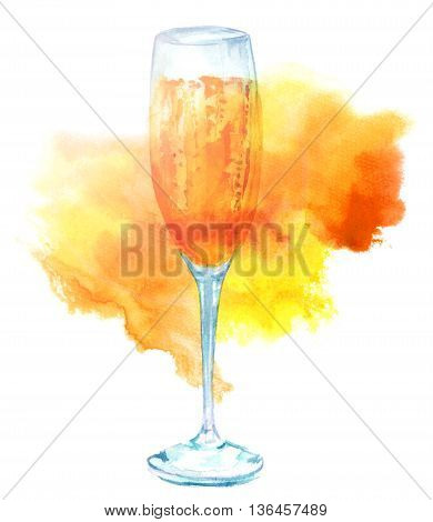 A watercolor drawing of a flute glass of sparkling wine a textured effect hand painted on white background