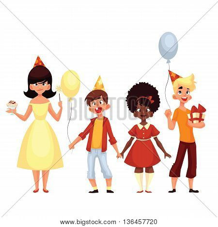 group of children on a holiday, cartoon comic illustration isolated on a white background, a few children on holiday with shaduvnymi balls and a gift, a birthday party or a baby with balls