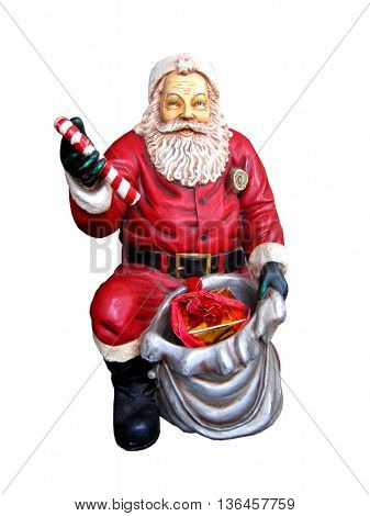 Standart christmas statue of santa claus isolated on the white background