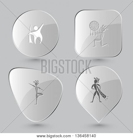 4 images: abstract little man, ethnic little man as shaman, as yogi,  with trumpet. Ethnic set. Glass buttons on gray background. Vector icons.