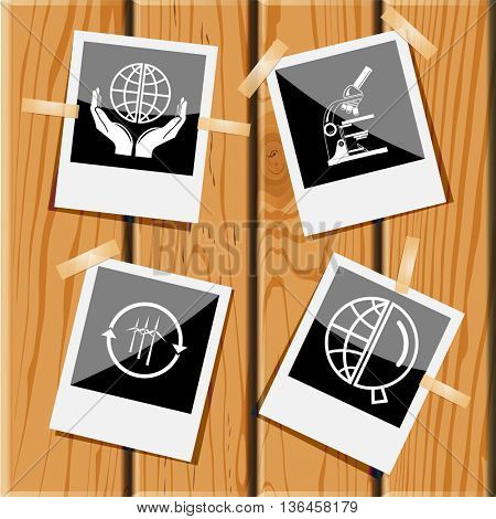 4 images: protection world, lab microscope, wind turbine, globe and magnifying glass. Science set. Photo frames on wooden desk. Vector icons.