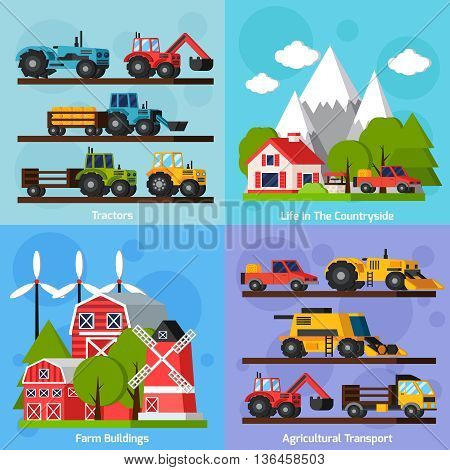 Farm orthogonal flat 2x2 icons set showing life in countryside and tractors agricultural transport and farm buildings isolated vector illustration