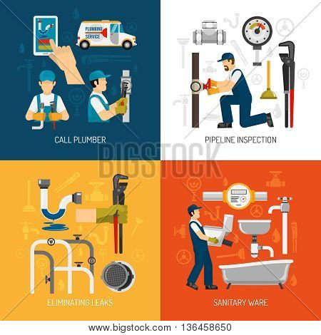 Plumbing service concept with call repairman pipeline inspection sanitary ware elimination of leaks isolated vector illustration