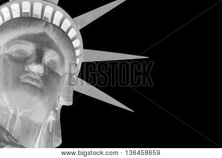 Variation of the Statue of Liberty in negative