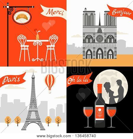 France Paris Retro Style Concept with triumphal arch eiffel tower street cafe romantic appointment isolated vector illustration