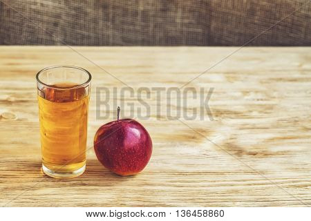 Glass Of Apple Juice On Wooden Background, Vintage, Copyspace