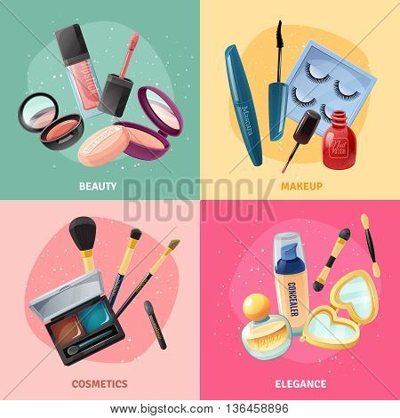 Facial cosmetics make-up beauty case accessories 4 realistic icons square with lipstick and eye shadows isolated vector illustration