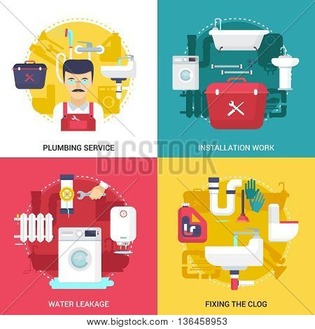 Clogged drains cleaning and installations plumbing service concept  4 flat icons square design abstract isolated vector illustration