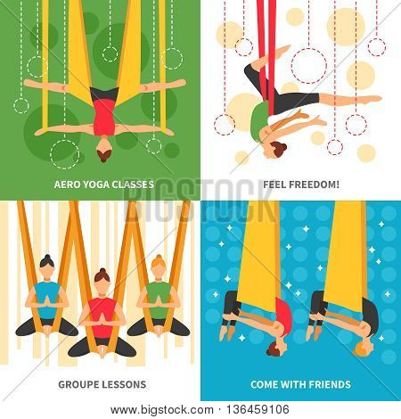 Aero yoga design concept four square icon set with themes aero yoga classes feel freedom group lessons and come with friends vector illustration