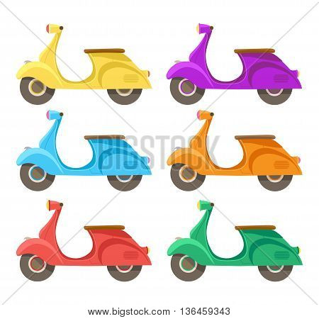 Vector creative flat design scooter icon. Set of six different colors of scooters yellow, green, blue, orange, purple and red..isolated on white background