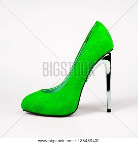 summer green female shoes over white background