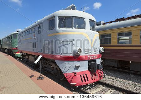 MOSCOW, RUSSIA - JUNE 23, 2016: Museum of Railway Transport of the Moscow railway soviet cargo-passenger diesel-electric locomotive with electric transmission TE2-125 nicknames - Bull Lyuska Mongolka Ferdinand built in 1952