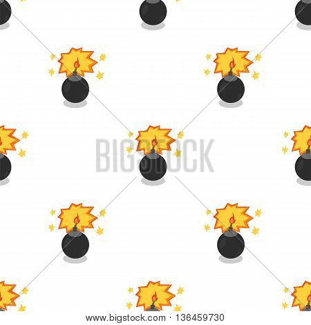 Bomb Isolated on White Background. Weapon Seamless Pattern