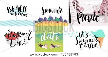 Lettering on beach, picnic, vacation and summer -six vector cartoon illustrated script writings Beach activities, Summer, Picnic, Summer Time, Date, It s Summer Time