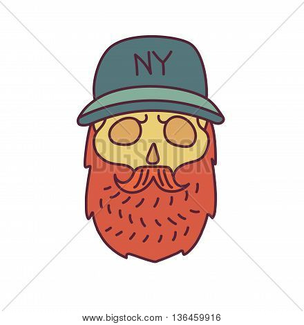 Skull with Hipster mustache, cap and beards.Color Fashion vector illustration.White background