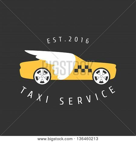 Taxi cab vector logo icon. Car hire black and yellow background badge app emblem. Taxi with wings design element