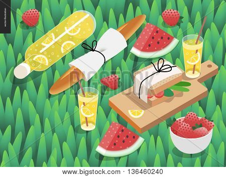 Picnic snack and grass template - vector cartoon flat illustration of snack and drink for picnic - bottle and glass of lemonade, baguette, watermelon, sandwich, on a green grass background
