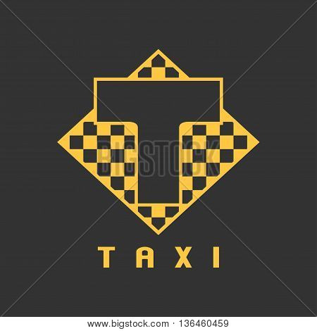 Taxi cab vector logo icon design. Street car hire taxicab black and yellow background badge app emblem