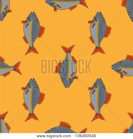 Fresh Fish Isolated on Orange Background. Seamless Fish Pattern