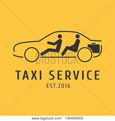 Taxi cab vector logo design. Car hire black and yellow background badge app emblem. Driver and passenger in taxi graphic icon