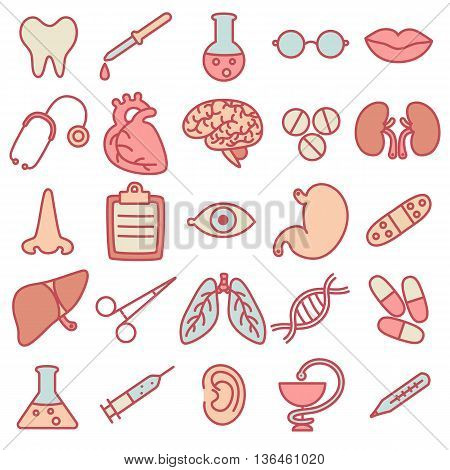 Colored flat icons on the topic of medicine and health