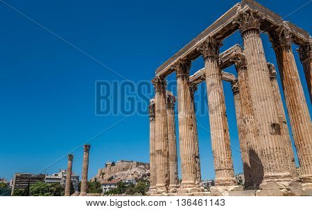 Temple of Zeus and Acropolis, Athens, Greece
