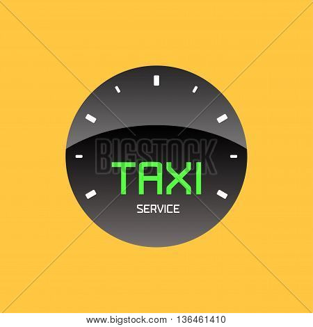Taxi cab vector logo design. Car hire black and yellow background badge app emblem element. Taxi speedometer graphic icon