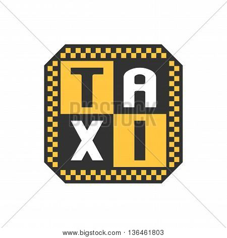 Taxi cab vector logo. Car hire black and yellow background badge app emblem. Letters taxi graphic design element