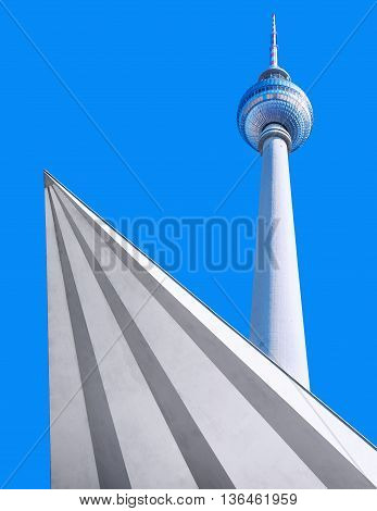 TV tower berlin against a blue sky