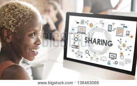 Sharing Social Media Technology Innovation Concept