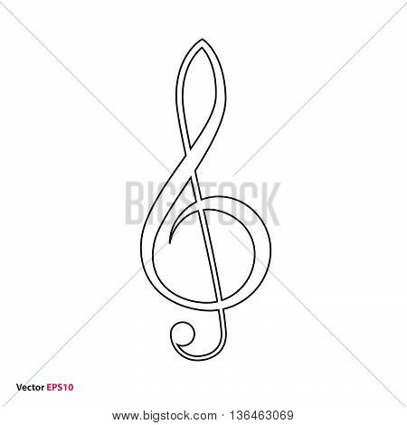 Black line treble clef vector icon, music symbol