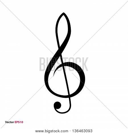 Black treble clef vector icon, music symbol