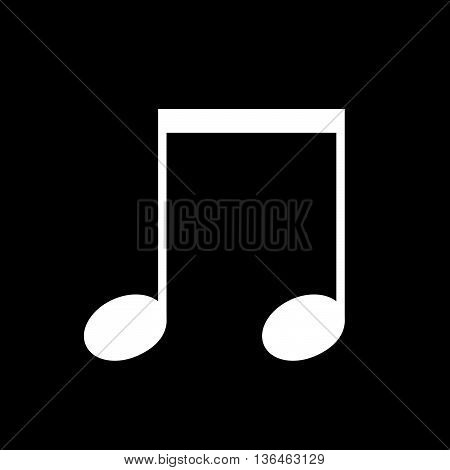 Music beamed note vector icon white on black background