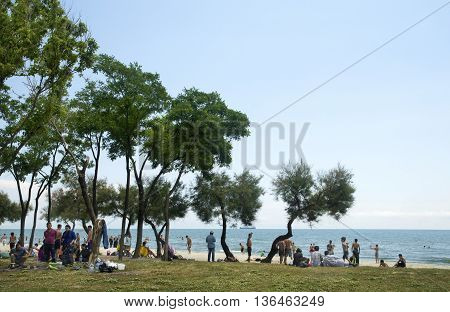 Istanbul Turkey - June 4 2016: summer residence of Syrian refugees Istanbul Kucukcekmece Violet coast.