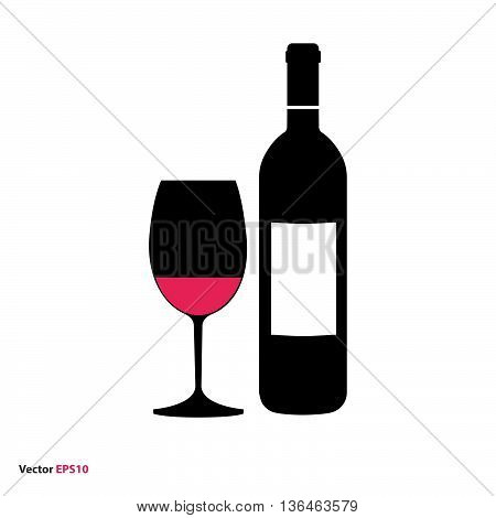 Glass and bottle of red wine, vector icon