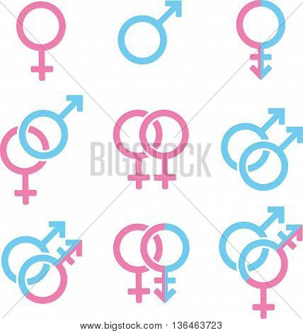 Set of genders symbols on white background