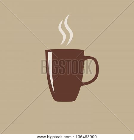 Cup of hot aroma coffee with steam