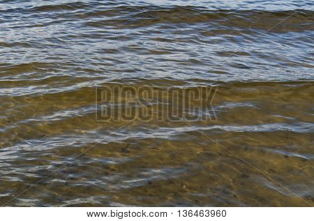 Texture of transparent river water blue and brown colors